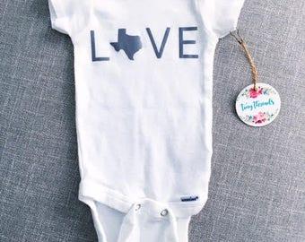 LOVE Onesie® | Baby Onesie® | Texas Baby | Baby Boy Onesie® | Baby Girl Onesie® | Infant Clothes | Custom Onesie® | Bodysuit | Baby Gift