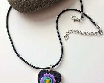 Purple Mosaic Jewelry/Mosaic Heart Pendant/Stained Glass Pendant/Wearable Art/Gift for Her Under 20/Mosaic Gift