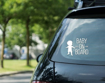 Car sticker Baby on board sign, boy, vinyl on decal paper, car decal - kid on board