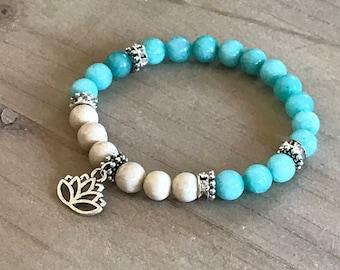 Amazonite bracelet, Fossil Bracelet,Yoga bracelet,boho bracelet,spiritual bracelet,lotus flower bracelet,boho jewelry,yoga jewelry