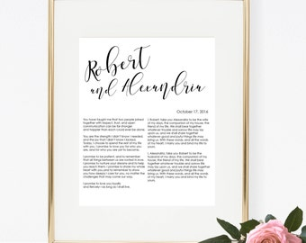 Custom Printable Wedding Vows | Anniversary Gift | Personalized | Digital Download