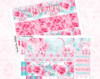 February Monthly Kit, Glossy Planner Stickers