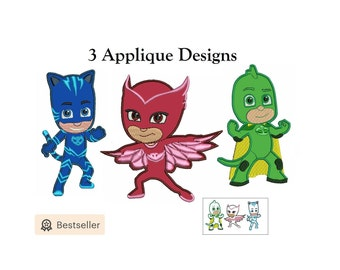 PJ Masks Applique Design - 3 figures instant download