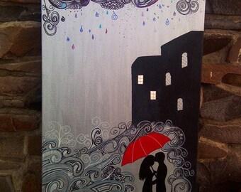 Wall Art Romantic Rain Painting
