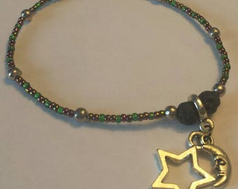 Moon and Star beaded charm bracelet