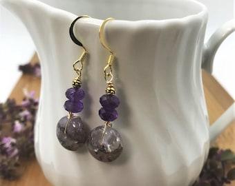 Agate Earrings, Agate Bead Earrings, Agate Dangle, Agate Drop, Purple Earrings, Amethyst Earrings, Boho Earrings, Gemstone Earrings