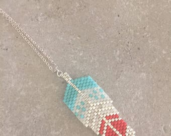 Necklace woven feather beads of 10 micron silver plated turquoise/orange/Pearl Japan