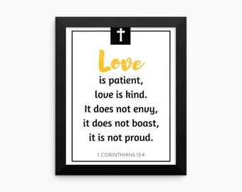 Bible Verse Print, Love is Patient Love is Kind 1 Corinthians 13 Christian Wall Art Print, Love Quote Poster PRINTABLE art Typography Print