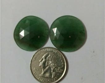 Jade green Rose cut slice Pair/Round rose cut slice pair/Cabochon Slice/Natural jade green/Cabochon rose cut/Earring slice pair/loose gemsto