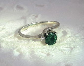 Emerald and Diamond Chip Sterling Silver Ring/ Rhodium Plated/May Birthstone/Free Shipping US/Christmas/Valentine gift/Birthday Present