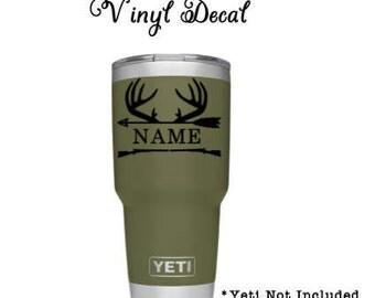 Buck Antlers personalized Vinyl Yeti Decal