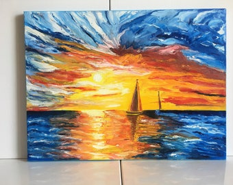 Abstract Art Sunrise Painting Original Big Ship Painting Romantic sunset painting Seascape oil painting Ship on the ocean Free shipping