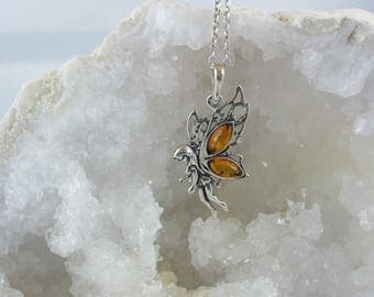 Fairy is made of amber and Silver 925.