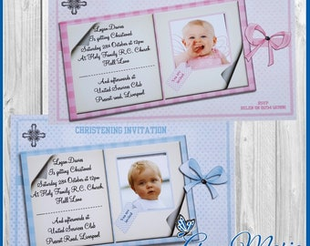 10 x Personalised Christening Invitation Cards Boy/Girl/Baptism Invites with Envelopes