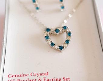 Crystal Blue Heart Pendant Necklace & Earring Set