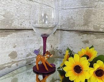 Bambi Glass - Bambi Wine Glass - Character Wine Glass - Glitter Glasses - Glitter Glass - Glitter Wine Glasses