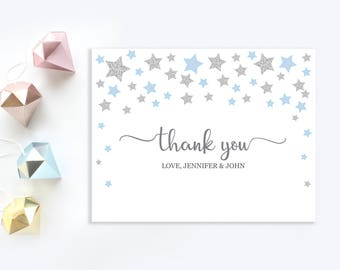 Twinkle twinkle little star thank you cards   Personalized Thank You card   Blue and silver stars thank you card   Baby boy shower printable