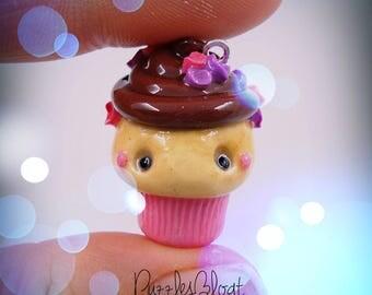 Valentine Cupcake Kawaii//handmade polymer clay charm//jewelry pendant from Fimo//Valentine's Day
