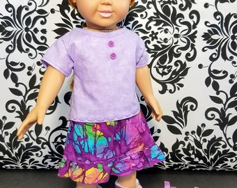 18 Inch Doll Clothes -Purple Skirt, Shirt and Purse