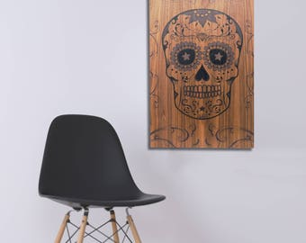 MEXICAN SUGAR SKULL - Decorative hanging wooden board