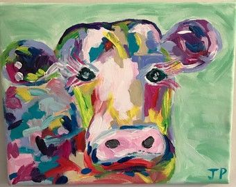 colorful acrylic cow painting, fun abstract cow painting, pastel cow painting, 8x10 canvas, brightly colored cow painting on canvas