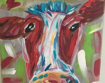 funky cow painting, abstract cow on canvas, 8x10, brightly colored cow painting, acrylic cow painting, cute girly cow painting