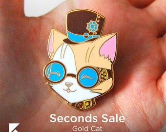 SECONDS SALE Steam Punk Cat Hard Enamel Pin Cute Gold Animal Gear Accessory
