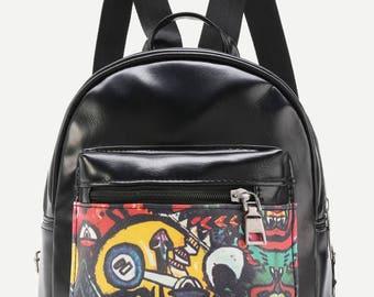 Graffiti Print Backpack