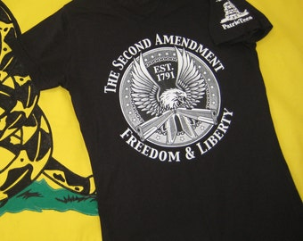 The Second Amendment, Freedom & Liberty, est. 1791 | eagle | guns |  screen printed |  America | t-shirt | tee