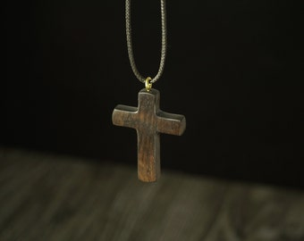 Cross wood pendant, Ebony wood pendant
