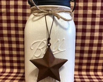 Painted mason jar, Tissue Mason  Jar, Primitive mason jar, Country mason jar, black Star lid, glass, Tissue jar, Tissue holder jar