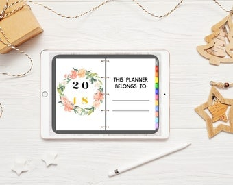 iPad Pro Digital Weekly Planner with functioning tabs! -Floral theme- (Can be used with  GoodNotes, OneNote, Metamoji, XoDo)