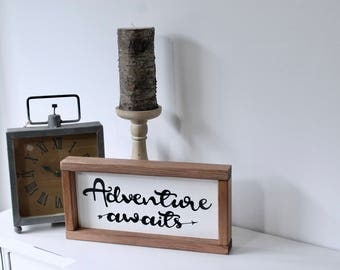 Adventure Await - Wood Sign, Rustic Wood Sign, Home Decor