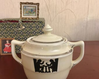 Halls Pottery Medallion Sugar Bowl & Lid - Silhouette