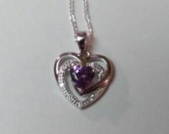 Sterling Silver Precious Heart CZ Necklace
