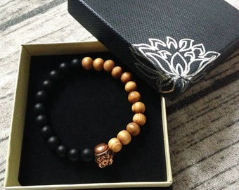 Stormtrooper mind bracelet geek in gemstones and bamboo - star wars style black and brown and coppery