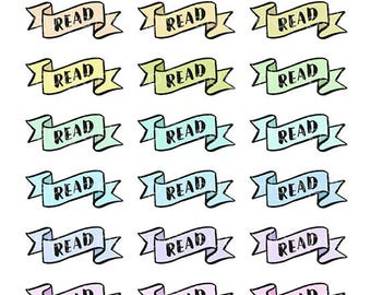 24 Read, Book, Study, MDN, Header Stickers, Banner, School, College, Homework, Task, Chore, Planner Stickers, Bullet Journal, Diary, HDR38
