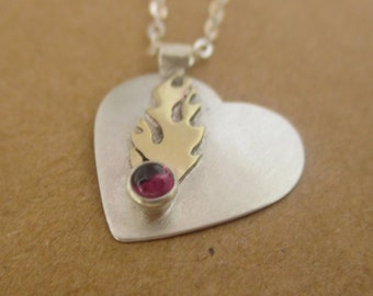 Limited Edition! Order by Jan. 25th for Valentines Delivery, Flame heart necklace - birthstone jewelry, personalized - custom