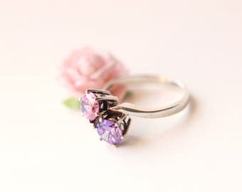 Vintage pink and purple ring, Sterling double stone, Sterling silver 925, Marked Korea, Pink and purple stone, Size 10, Topaz or amethyst