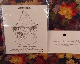 Vintage Uncut Farmyard Creations Winifred the Witch Ornament Pattern