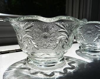 Set of 4 1950s Sandwich Glass Custard Cups- Pudding Cups- Anchor Hocking Ramekins- Clear Flower Scroll Design- Crimp Top Ruffle Small Dishes