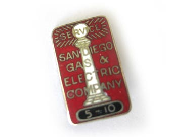 Vintage Sterling Silver San Diego Gas and Electric Company Enamel Lapel Pin / Service Pin / Red and Silver Enamel