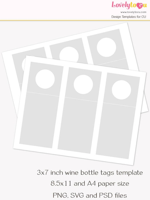 Wine Bottle Hang Tag Template Printable Blank Craft Sheet