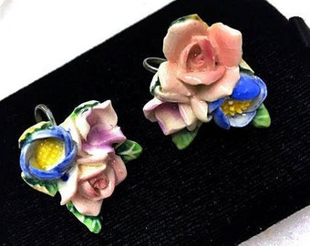 Vintage 1930s 1940s Porcelain Ceramic Rose Earrings . 30s 40s Detailed Pink Roses . Hand Crafted Bone China Screw Back Earrings