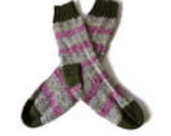 Socks - Women's Handknit Pink, Green and Blue Striped Socks  with Green Cuff - Size 7-8 - Casual Socks -