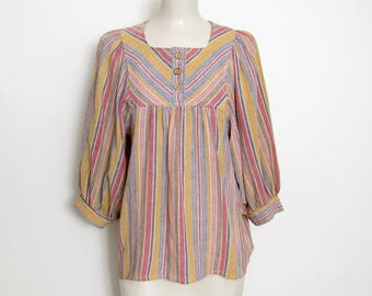 1970s Boho Top / Striped Pullover w/ Bishop Sleeves / 70s Vintage Byer California Hippie Festival Shirt