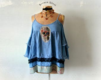 Grunge Style Skull Applique Cold Shoulder Top Loose Fitting Layered Blouse Deconstructed Wearable Art Clothes Women Frayed Shirt XL 'ANDI'