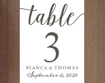 Printable DIY Table Number Cards 5x7 French Grey | Calligraphy Table Numbers with Name and Wedding Date | Instant Download