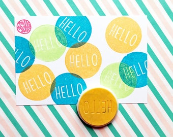 hello stamp. circle hand carved rubber stamp. calligraphy stamp. snail mail decor. card making. small business stationery. uppercase