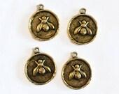 Bee charm - gold bee charm - Nunn bee charm - antique gold - coin charm - honey bee charm - bumble bee charm